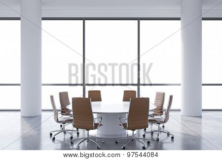 Panoramic Conference Room In Modern Office, Copy Space View From The Windows. Brown Chairs And A Whi