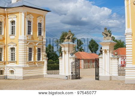 Exterior of the entrance gate to Rundale palace in Pilsrundale, Latvia.