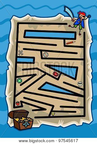 Treasure Map Pirate Maze Game