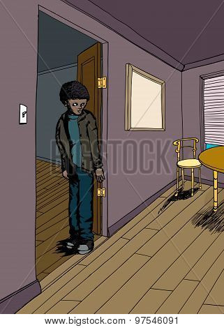 Insulted Black youth with scowl in doorway poster