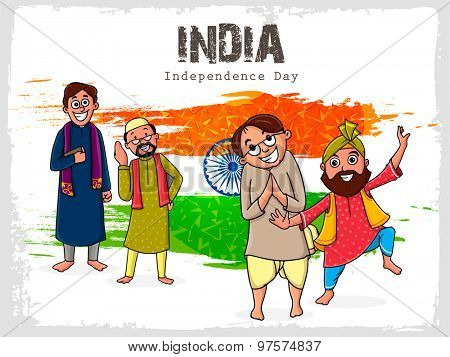 Illustration of different religion men showing their culture in national flag color background for Indian Independence Day celebration.