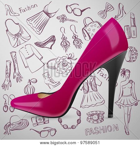 Modern womens shoes and hand draw Fashion icon