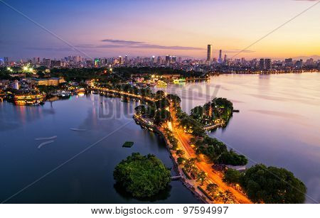 Aerial view of Hanoi skyline cityscape at sunset time