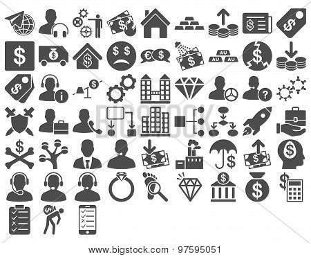 Commerce Icon Set. These flat icons use gray color. Glyph images are isolated on a white background. poster