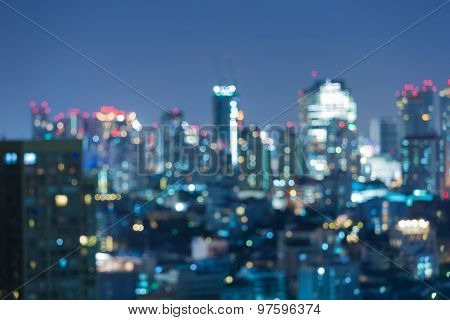 Abstract blurred bokeh light, city downtown at night