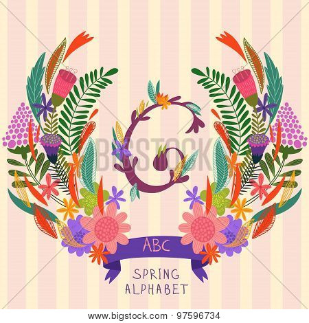The Letter G. Floral Hand Drawn Monogram Made Of Flowers And Leafs In Vector. Spring Floral Abc Elem