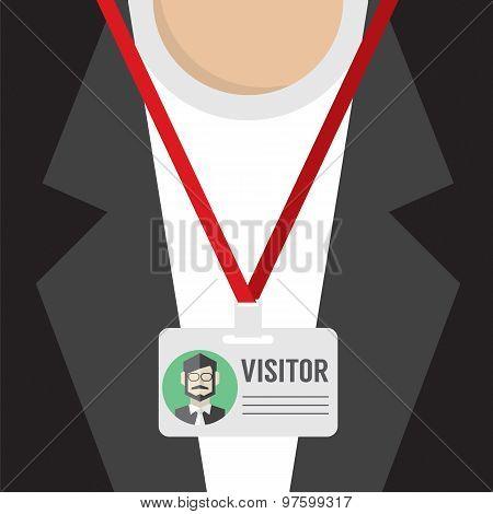 Flat Design Visitor Pass.