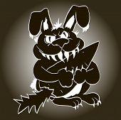 evil black rabbit eater toothy predator killer poster