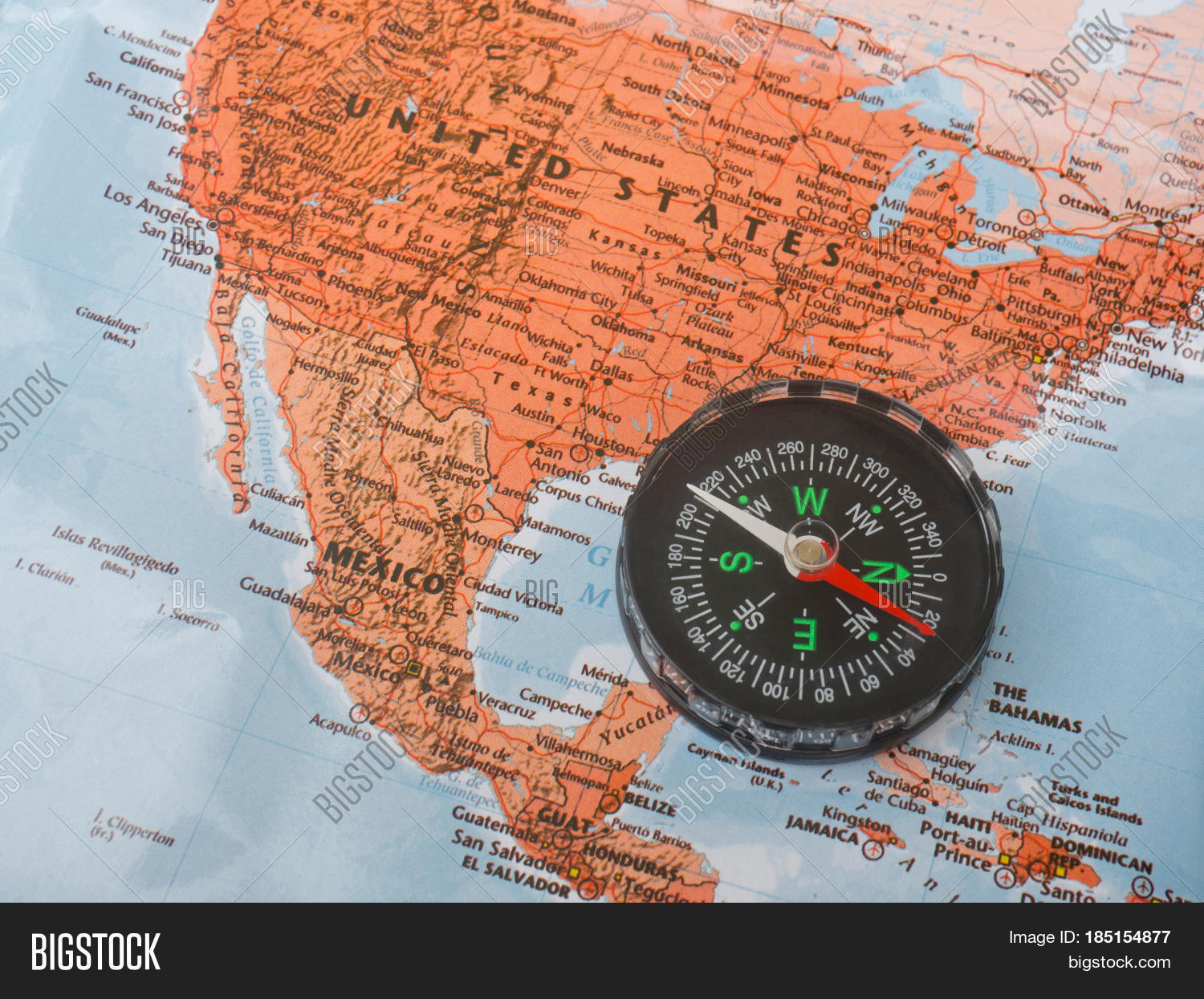 Compass On Map : Image & Photo (Free Trial) | Bigstock