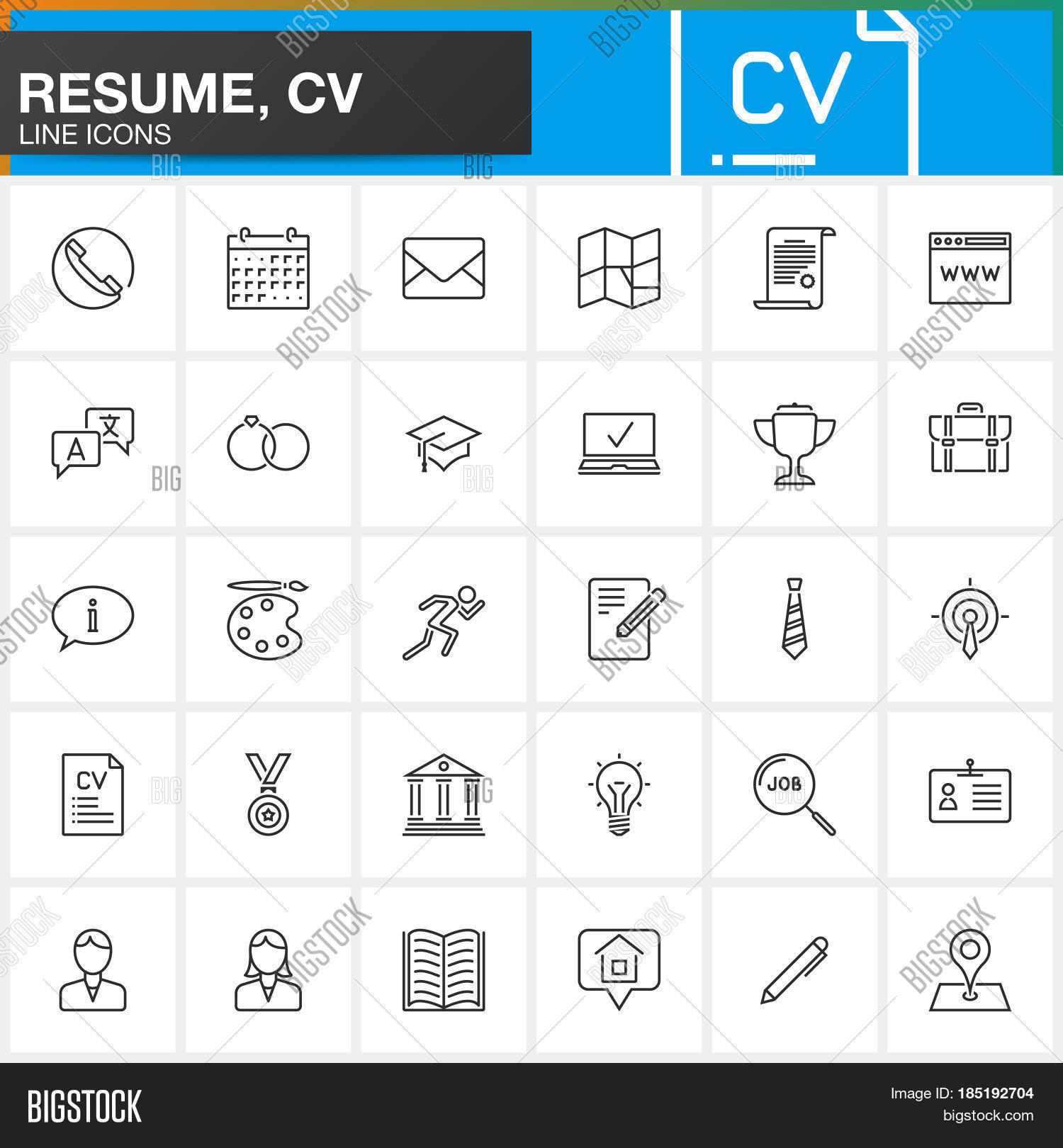 line icons set resume vector  u0026 photo  free trial