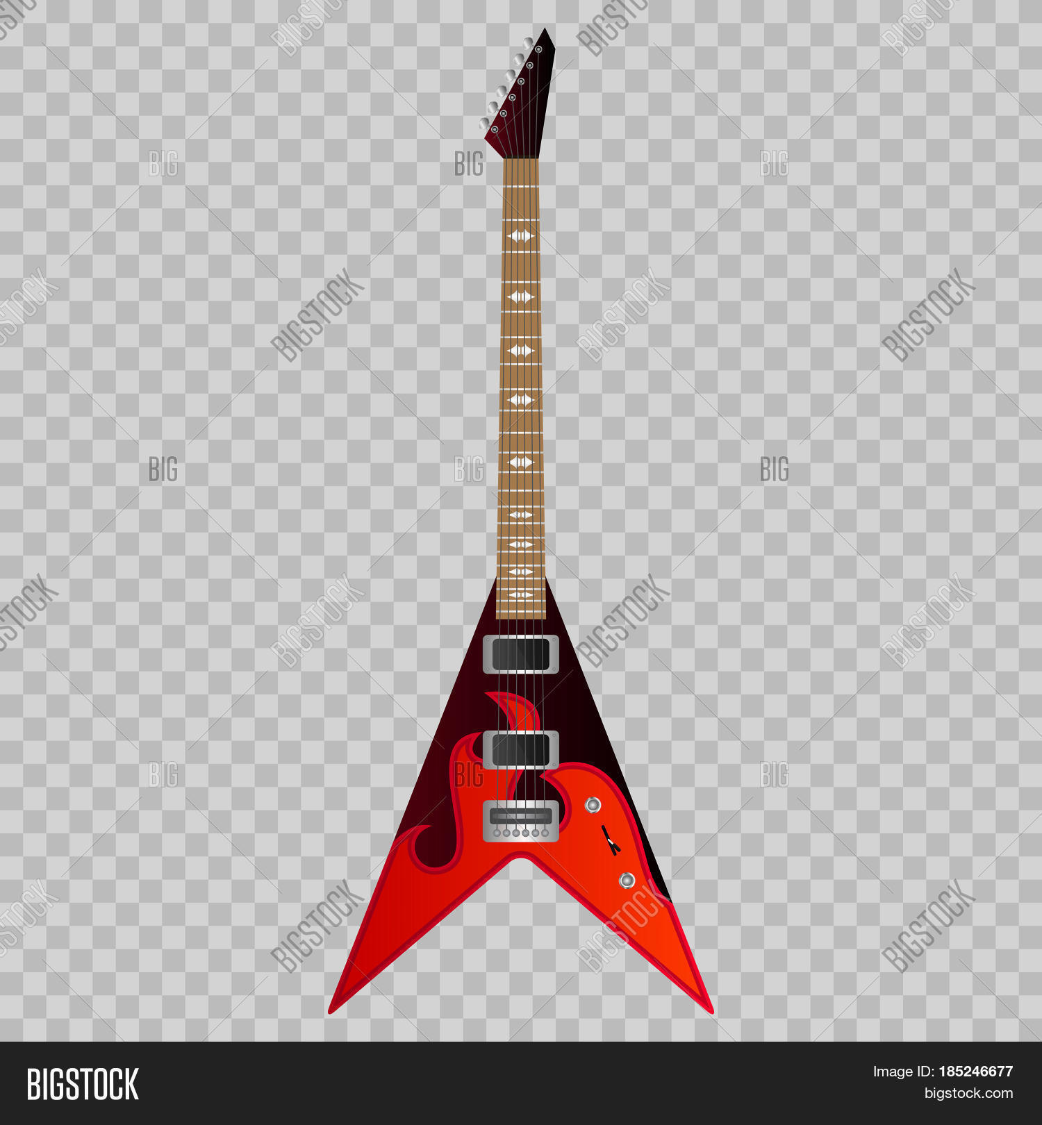 Electric Guitar In Fire On A Transparent Background Musical Instrument For Rock Band