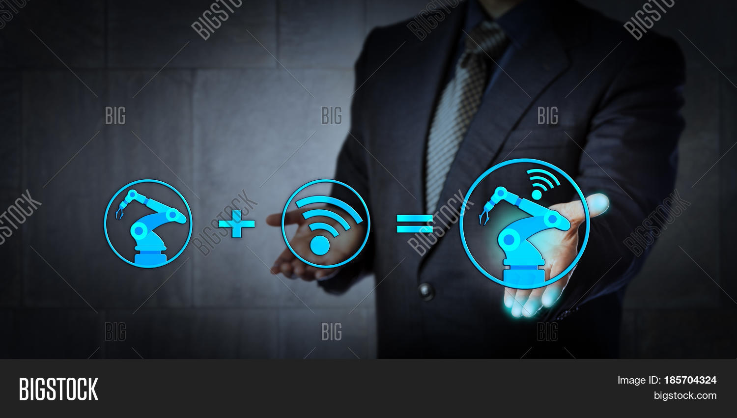 Blue chip consultant offering image photo bigstock blue chip consultant offering technology solution a six axis industrial robot icon plus a wireless malvernweather Choice Image