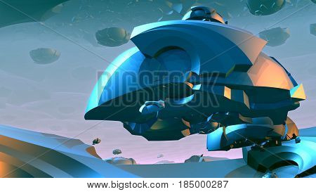 3D Abstract colorful shapes floating in space. 3D rendering
