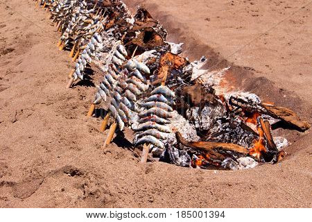 Sardines. Grilled seafood. Spain, Andalusia, Costa del Sol. Mijas village.