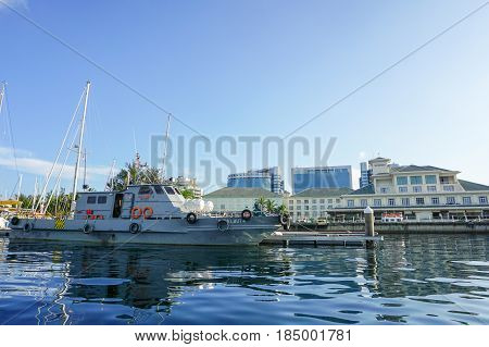 Labuan,Malaysia-May 1,2017:Yachts in the yacht club at Labuan Public Marina near the Waterfront Hotel in Labuan island,Malaysia.This is a beautiful island with clear water, clean tree lined streets & white sandy beaches.It has duty-free status.