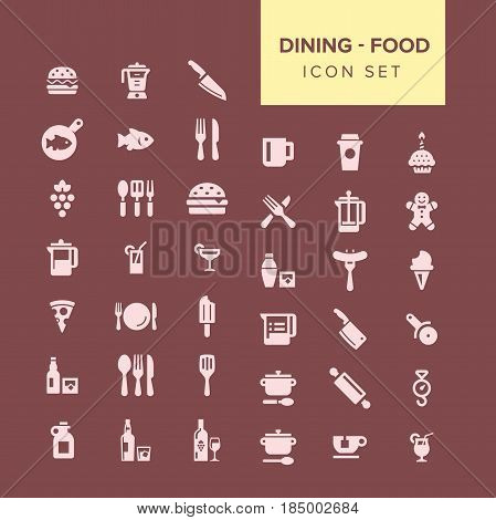 Dining and food Icon set. Fully editable Illustration vector