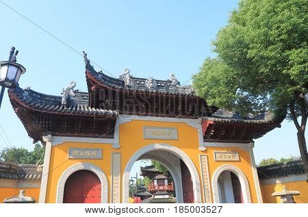 SUZHOU CHINA - NOVEMBER 3, 2016: Hanshan Temple in Suzhou China. Hanshan Temple is believed to have been founded during the Tianjian era 4th century.