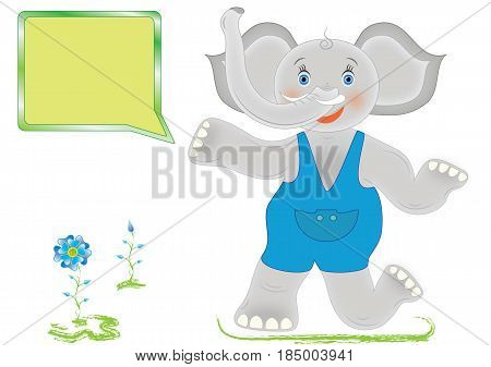 Cartoon elephant with frame for your text in vector