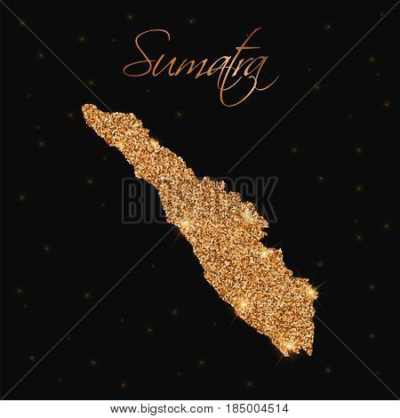 Sumatra Map Filled With Golden Glitter. Luxurious Design Element, Vector Illustration.