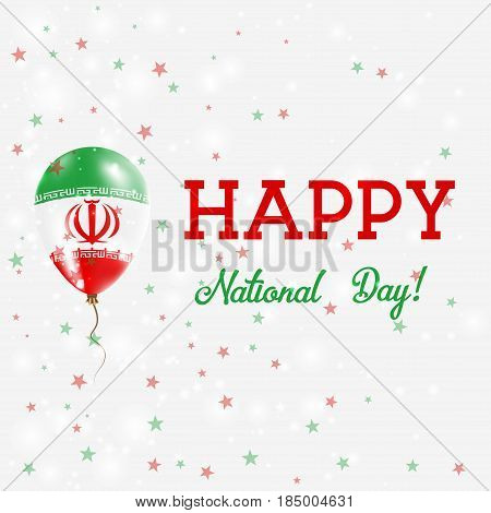 Iran National Day Patriotic Poster. Flying Rubber Balloon In Colors Of The Iranian Flag. Iran Nation