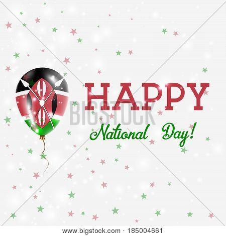 Kenya National Day Patriotic Poster. Flying Rubber Balloon In Colors Of The Kenyan Flag. Kenya Natio
