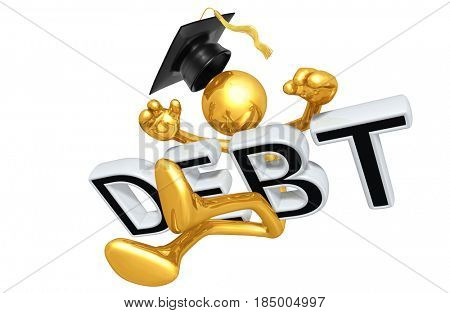 Graduate Hit With Debt The Original 3D Character Illustration