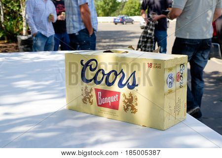 EUGENE, OR - SEPTEMBER 3, 2016: Coors Banquet Beer 18 pack of cans at a wedding.