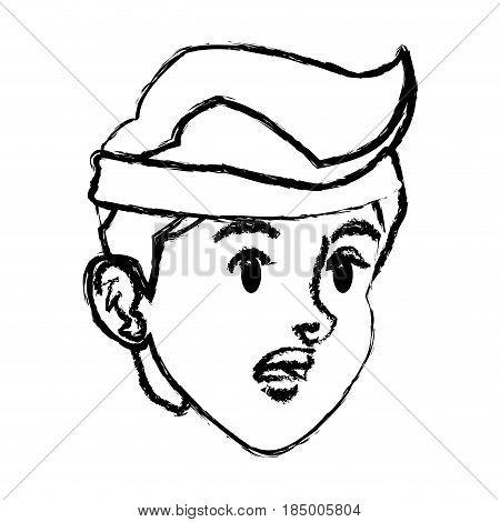 sketch tired face boy sport style design vector illustration