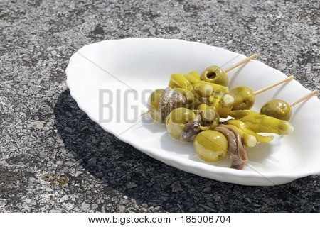 Traditional Appetizer From Basque Country, Spain, Named