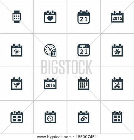 Vector Illustration Set Of Simple Time Icons. Elements Plant, Planner, Snowflake And Other Synonyms Annual, Remembrance And Repair. poster