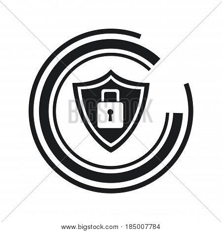 security technology padlock shield internet line vector illustration