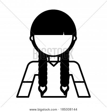young woman with braids vector illustration design