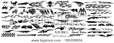 Vinyls & Decals for Car, Motorcycle, Racing Vehicle Graphics in isolated vector format