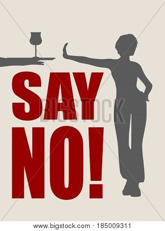 A young woman holding her hand in front to show stop gesture and rejects alcohol. Say no text. Vector illustration