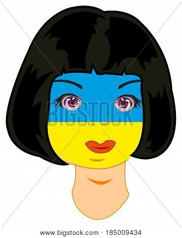 Person of the girl painted in flag of the ukraine