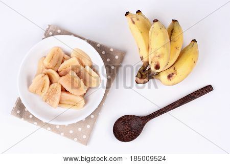 Boiled Banana In Syrup And Wholes Of Banana.