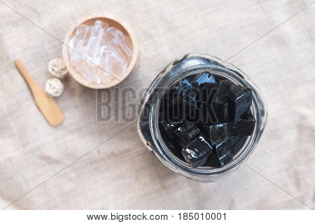 Grass jelly (Mesona chinensis) vegetable jelly eaten with ice and sugar