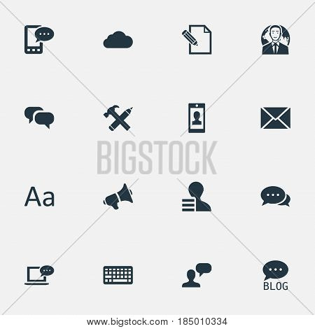 Vector Illustration Set Of Simple Blogging Icons. Elements Site, International Businessman, Keypad And Other Synonyms Gain, Considering And Loudspeaker.