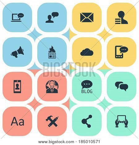 Vector Illustration Set Of Simple User Icons. Elements Overcast, Man Considering, E-Letter And Other Synonyms Profile, Loudspeaker And Phone.