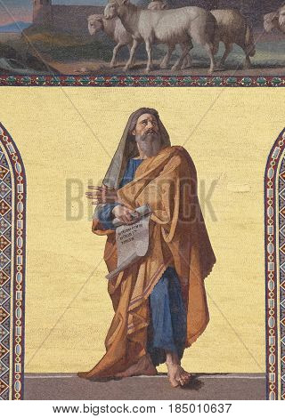 ROME, ITALY - SEPTEMBER 05: Mosaic of the Prophet Ezekiel in the facade of Basilica of Saint Paul outside the walls, Rome, Italy on September 05, 2016.