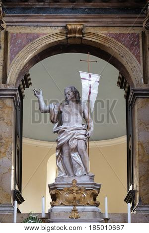 DUBROVNIK, CROATIA - NOVEMBER 08: Risen Christ, altar in Franciscan church of the Friars Minor in Dubrovnik, Croatia on November 08, 2016.