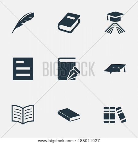 Vector Illustration Set Of Simple Knowledge Icons. Elements Academic Cap, Bookshelf, Graduation Hat And Other Synonyms Plume, Reading And Quill.