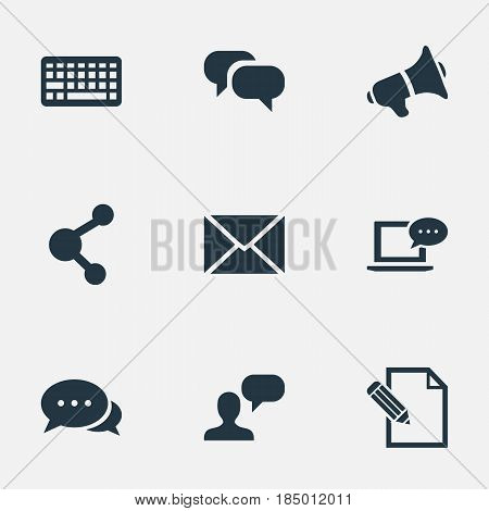 Vector Illustration Set Of Simple Newspaper Icons. Elements Share, Document, Argument And Other Synonyms Post, Man And Considering.