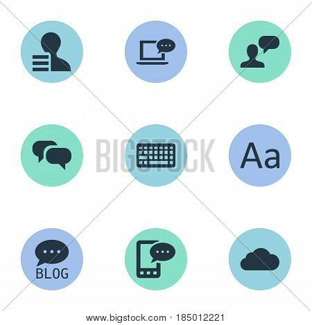 Vector Illustration Set Of Simple User Icons. Elements Overcast, Gain And Other Synonyms Profit, Keypad And Gain.
