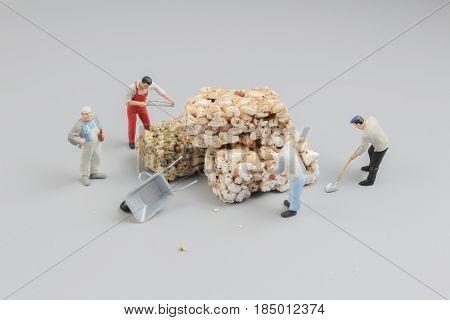 Mini Worker Cut Of The Crispy Rice Treat In Bar