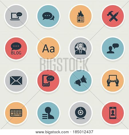 Vector Illustration Set Of Simple Blogging Icons. Elements Gazette, Repair, Gain And Other Synonyms Keypad, Forum And Debate.