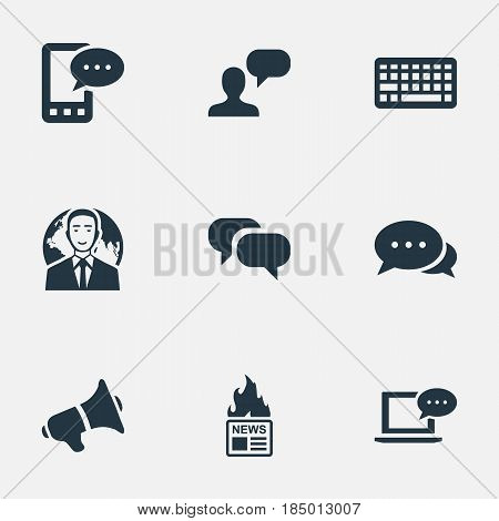Vector Illustration Set Of Simple User Icons. Elements Argument, Gazette, Laptop And Other Synonyms Gossip, Speech And E-Letter.