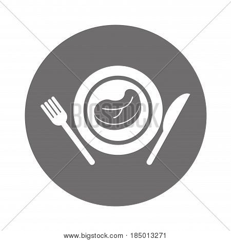 meat beef with cutlery isolated icon vector illustration design