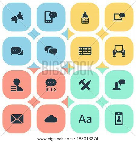 Vector Illustration Set Of Simple Newspaper Icons. Elements Site, Notepad, Man Considering And Other Synonyms Negotiation, Hot And Gazette.