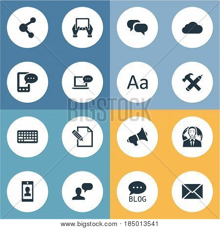Vector Illustration Set Of Simple Newspaper Icons. Elements E-Letter, Document, Overcast And Other Synonyms Alphabet, Missive And Debate.